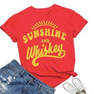 Sunshine And Whiskey Country Retro Red Graphic Tee